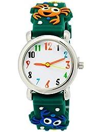 a41f212a104 ARROYO Kids Time Teacher Boys Girls Children Analog Wrist Watch Cartoon 3D  Animal Fish Band Environment