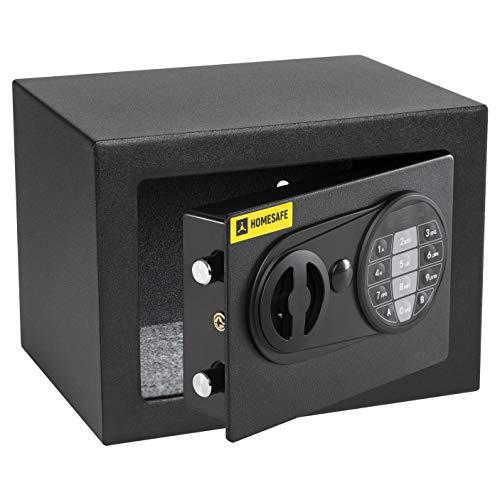 HomeSafe HV17E Caja fuerte Electrónica 17x23x17cm HxWxD, Negro Satén de Carbón