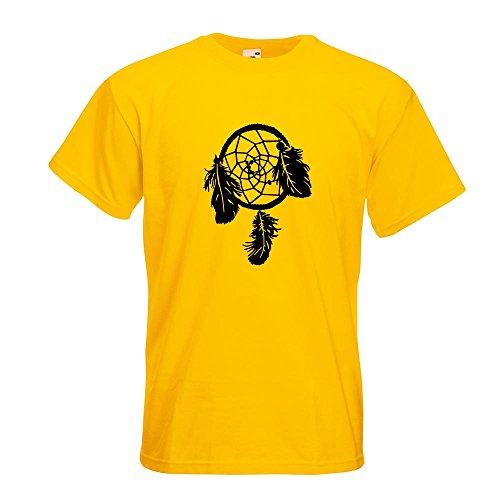Kiwistar Traumfänger - Indianer - Western T-Shirt in 15 Verschiedenen Farben - Herren Funshirt Bedruckt Design Sprüche Spruch Motive Oberteil Baumwolle Print Größe S M L XL XXL Gelb