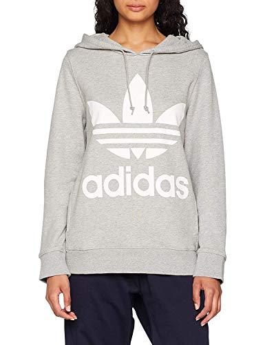 adidas Damen Trefoil Hoodie Sweatshirt, medium Grey Heather, 34 -
