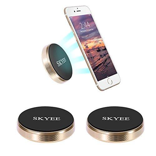 SKYEE [2 Unidades Soporte Movil Coche Magnético Pegar en la Salpicadero, Pared, Universal Soporte Teléfono iman con 4 Piezas Placa Metálicas Soporte para Llaves, GPS, Smartphone (Oro)
