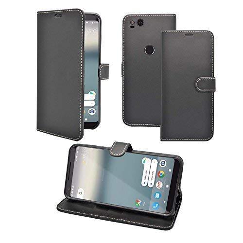 Preisvergleich Produktbild Kompatibel mit Google Pixel XL 2 Schwarz Einfarbig Pu Leder Klappetui