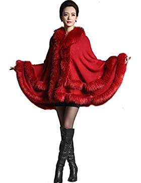 plaer Mujer sintética chal capa de piel de zorro coat-hooded Cape Cardigan