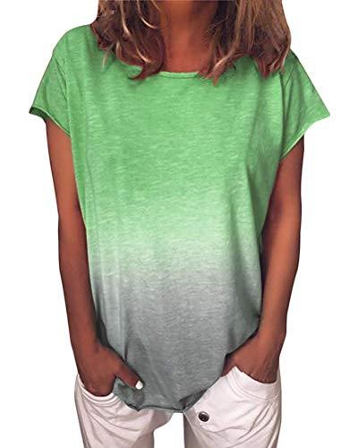 8b18b81bd1 ORANDESIGNE Damen Kurzarm T-Shirt Rundhals Blusen Beiläufig Farbverlauf  Shirt Sommer Lose Shirt Tees Grün