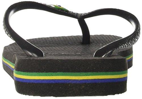 Havaianas Brasil Logo, Tongs Mixte Adulte Noir (Black/black)