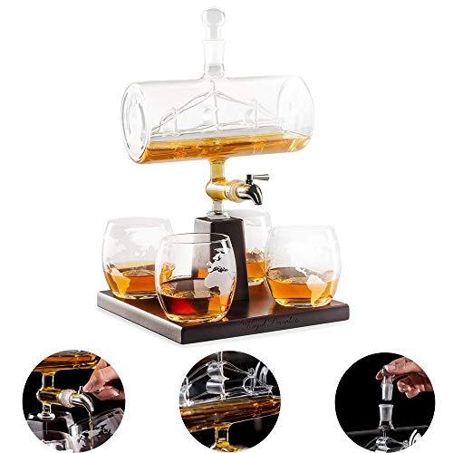 PSATO Whiskey Decanter Set Scotch Weißwein-Dekanter 1000 ml alkoholisches Getränk Edelstahl-Wasserhahnspender - 4 geätzte Weltkartengläser