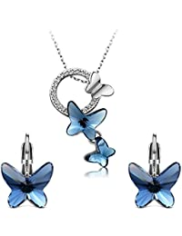 Yellow Chimes Crystals from Swarovski Montana Blue Butterfly Designer Crystal Pendant Set for Women & Girls