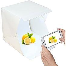 Mini Plegable Portátil fotografía Estudio Foto Difusor Luz Suave Iluminación Caja de Fotografía con 2 Telones de fondo (negro blanco)