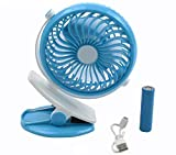 Swabs® Mini Battery Operated Clip Fan,Small Portable Fan Powered by Rechargeable Battery or
