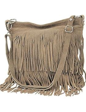 [Gesponsert]AMBRA Moda Damen Handtasche Ledertasche Umhängetasche Fransentasche Schultertasche Damentasche Wildleder 32 cm...