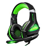 Cuffie Gaming per PS4,ShinePick Cuffie da Gioco con 3.5mm Jack LED e Microfono Insonorizzato ,Bass Stereo Audio Surround Cuffie da Gaming per Xbox One / Xbox One S / Nintendo Switch /PC/ Laptop(Verde)