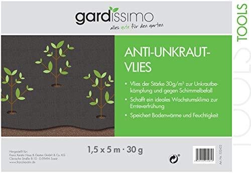 gardissimo - 532422 - Anti Mauvaises Herbes 1,5 x 5 m, 30 g, noir, 43 x 30 x 40 cm