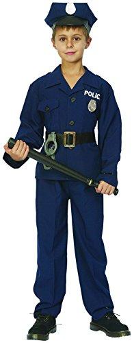 KULTFAKTOR GmbH Kleiner Polizist Kinderkostüm Officer Blau-Schwarz-Silber 122/134 -