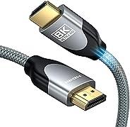 8K HDMI 2.1 Cable 48Gbps 4K120 ، LamToon Ultra High Speed 8K @ 60 144Hz 6.5ft كابل HDMI مضفر ، HDR ديناميكي ،