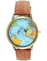 Moda mujeres hombres vintage tierra mundo mapa Reloj Denim Tela Muñeca relojes marrón