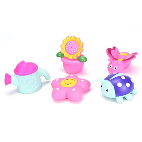 Pizies Squeeze Water Squirter Bath Toys Hand-Size for Baby/Toddlers Set of 5