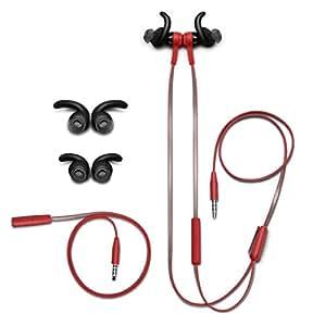 JBL Synchros Reflect I In-Ear Sportkopfhörer Ohrhörer, Schweißabweisend mit 3-Tasten-Lautstärkeregelung/Musiksteuerung/Mikrofonsteuerung und Reflektierendem Kabel Kompatibel mit Apple iOS Geräten - Rot