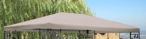 Ersatzdach Garten-Pavillon Blätter 3x4m Grau Plane Ersatz-Bezug