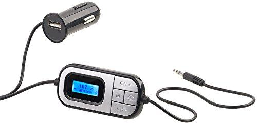 auvisio Stereo FM Transmitter: FM-Transmitter mit Boost- & Auto-Scan-Funktion, AUX, Kfz-USB-Ladegerät (Autoradio-FM-Transmitter)