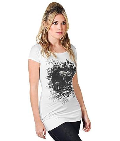 Haut Top Moulant Col Bateau Femme Imprimé Tête De Mort Crane T-shirt - 40 - Blanc