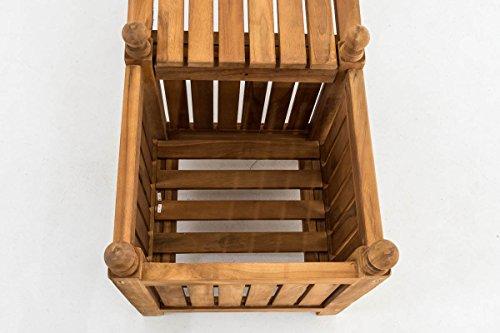 CLP Teak-Holz Gartenbank / Blumenkasten Set BALDRIAN, 2 in 1: Gartenbank + 3 Blumenkästen teak - 5