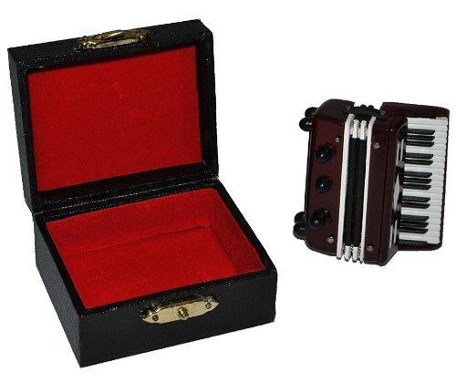 Unbekannt Akkordeon mit Kasten - Holz Miniatur Maßstab 1:12 - Schifferklavier Zerrwanst Puppenhaus - Musikinstrument Musik Instrument Tasteninstrument