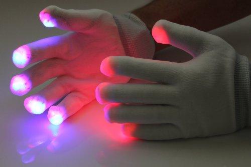 Del 1 Paar LED-Handschuhe weiß (2 Stück) Leuchthandschuhe Party Festival Musik - Terminator Kostüm Kinder