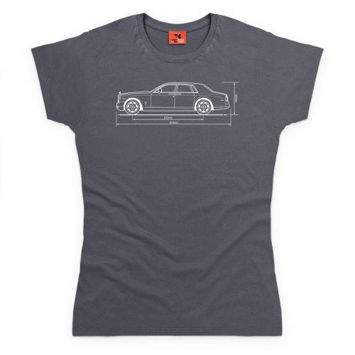 PistonHeads Phantom Luxury Car T-Shirt, Damen Anthrazit