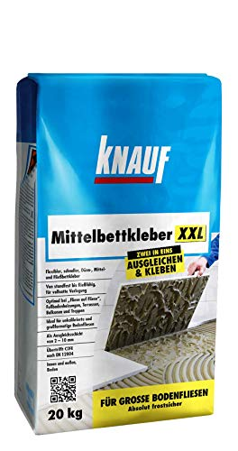 Knauf Mittelbettkleber XXL, Klebe-Mörtel, Fliesenkleber - Fliesen- und Naturstein-Kleber für Boden, innen und außen, 20-kg