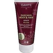 SANTE Naturkosmetik Homme Duschgel Body & Hair 2in1 Bio-Aloe für Männer, Anregend & vitalisierend, Pflanzliche Tenside, Vegan, 200g