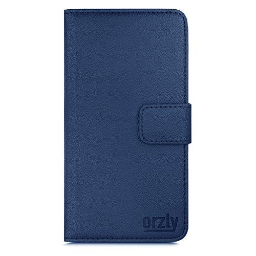 Orzly® - Multi-Function Wallet Stand Case for HTC ONE (M9) - SCHUTZHÜLLE mit integrierte BRIEFTASCHE + STAND - Flip Stil Fall / Tasche / Handytasche in SCHWARZ Leder Effekt mit Magnetischen Deckel - H BLAU für HTC ONE M9