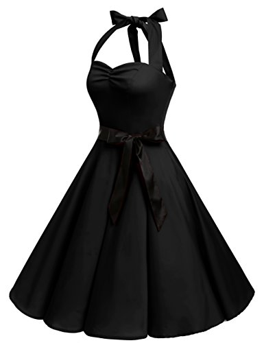 Bbonlinedress 1950er Neckholder Vintage Retro Rockabilly Cocktail Party Kleider Black 2XL - 2