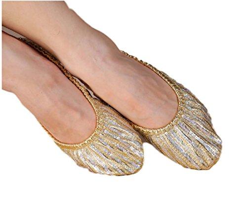 Goldene Praxis Schuhe Bauchtanz Leistung Schuhe Bauchtanz Praxis Schuhe Trainer Falten Ballett Pumpen Falten Schuh Faltbare Schuhe ( Color : Gold , Size : L(38-39) ) (Leder Canvas Keile)