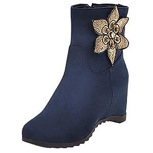 JUSTSELL_Schuhe Damen Stiefeletten,Frauen Blume Patchwork Boots Keilpumps Schuhe Runder Kopf Schuhe Casual Stilvoll Stiefel Schuhe