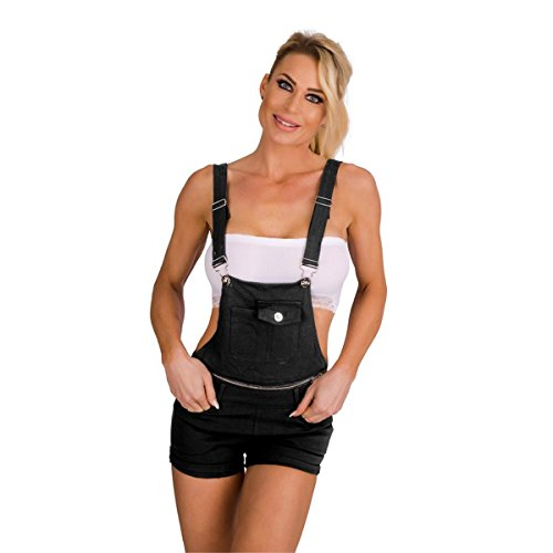 10576 Fashion4Young Damen Latzhose Hotpants Short Latzjeans kurze Hose m. Trägern Hot Pants (schwarz, M=38)