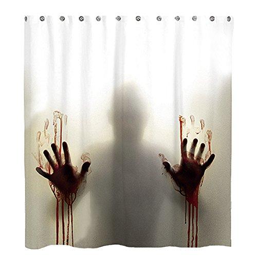 Milya Duschvorhang Badvorhang Horror Hilfe mit blutigen Händen Thema mit Haken, Anti-Schimmel, Wasserdicht, Polyester, 175x180cm