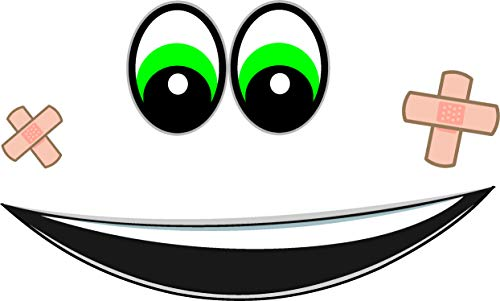 2x Augen Aufkleber für Saugroboter, Mähroboter Wischroboter Thermomix Sticker Set Roboter (Mund, Pflaster Augen Grün)