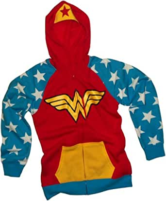 Wonder Woman -- DC Comics Juniors Zipper-Fleece Hoodie Sweatshirt, X-Large