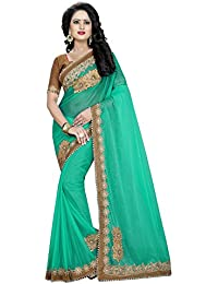 Swadesi Stuff Women's Green Lycra Pearl Emblished Saree With Blouse Piece