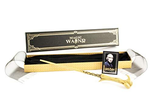 Delta Kairos Bacchetta Magica di Voldemort - Dipinta a Mano - Resistente con Anima in Metallo - 36,5 cm - con Confezione