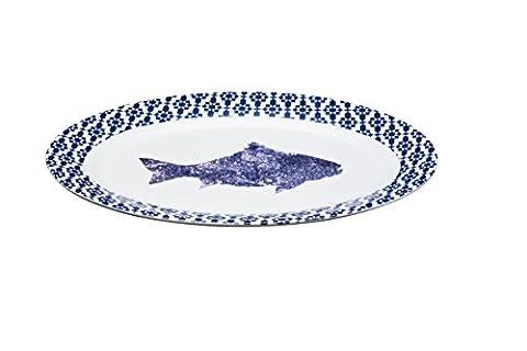 Master Class artesà Porzellan 'Fisch' Servierplatte, oval, 35x 24,5cm (35,6x 24,1cm)–Blau Rand