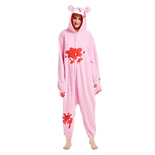 Jumpsuit Tier Cartoon Nachtwäsche - hibote Flanell Unisex Cosplay Overall Pyjama Schlafanzug Erwachsene Winter Pyjama