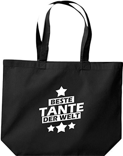 shirtstown grande borsa della spesa, MIGLIORI zia del mondo Nero