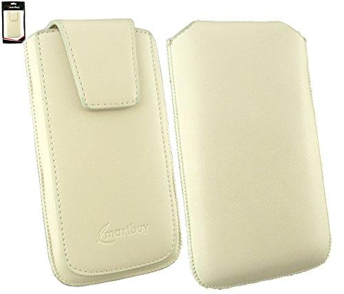 Emartbuy® Sleek Bereich Cream Luxury PU Leder Slide in Beutel Kasten Hülsen Halter (Größe 3XL) Mit magnetischer Klappen & Pull Tab Mechanism Passend für Allview P5 eMagic Smartphone