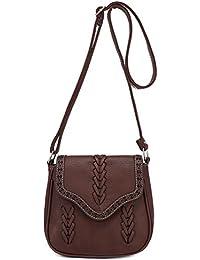 Rrimin Messenger Leather Shoulder Bag Crossbody For Women(Dark Brown)