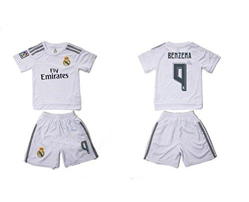 Top Verkauf Real Madrid CF 9Karim Benzema Home Fußball Jersey für Kinder Kid Jugend in weiß Small weiß (Jugend Home Jersey Weiß)
