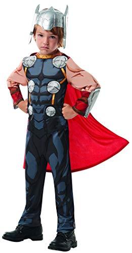 Luxuspiraten - Jungen Kinder Thor Classic Kostüm aus Avengers Assemble mit Einteiler, Umhang und Helm perfekt für Karneval, Fasching und Fastnacht, 98-104, - Thor Avengers Classic Kind Kostüm