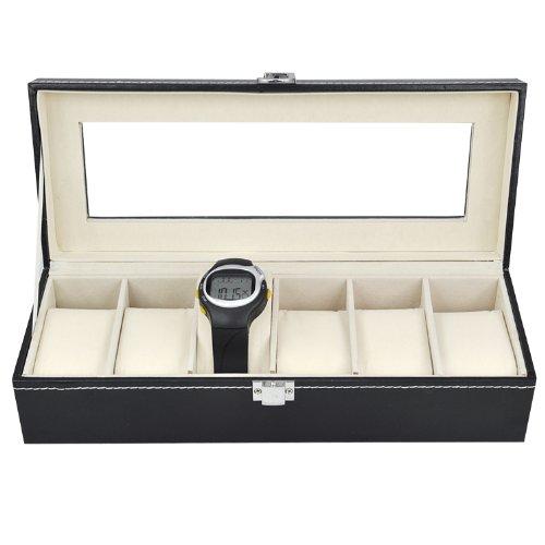 SODIAL(R) Caja de Exhibicion 6 Compartimiento para Reloj Cuero de Imitacion - Negro