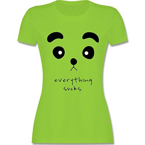 Eulen, Füchse & Co. - Panda everything sucks - tailliertes Premium T-Shirt mit Rundhalsausschnitt für Damen Hellgrün
