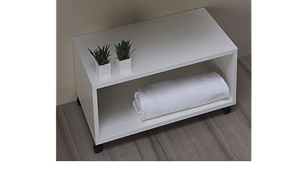 Panca Contenitore Bagno : Mobile bagno panca arredo bagno con rotelle da cm 65: amazon.it